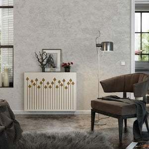 Modern Floating Radiator Heater Cover NORDIC ARROWS Metal Cabinet design flush wood top Ref RCNR236-Distinct Designs (London) Ltd