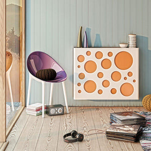 Modern Floating Radiator Heater Cover NORDIC CIRCLES Metal Cabinet design flush wood top Ref RCNR235-Distinct Designs (London) Ltd