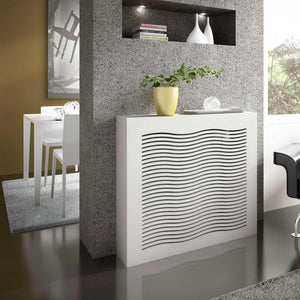 Modern Floating Radiator Heater Cover GEOMETRIC WAVE Cabinet Box Design with Top Shelf Ref RCGE247-75cm-40cm-Distinct Designs (London) Ltd