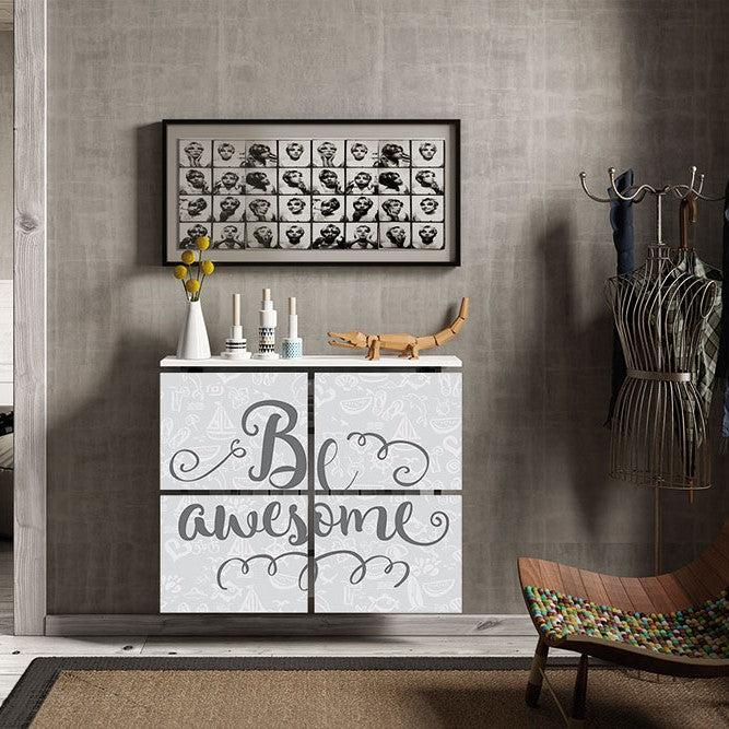 Modern Floating Radiator Heater Cover QUOTES 'Be Awesome' Cabinet Design 40-115 high & 40-180cm long-75cm-40cm-Distinct Designs (London) Ltd