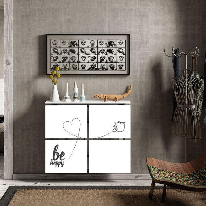 Modern Floating Radiator Heater Cover QUOTES 'Be Happy' Cabinet Design 40-115cm high & 40-180cm long-75cm-40cm-Distinct Designs (London) Ltd