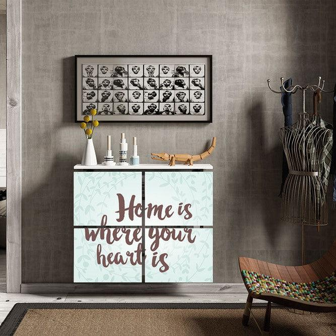 Modern Floating Radiator Heater Cover QUOTES 'Home is' Cabinet Design 40-115cm high & 40-180cm long-75cm-40cm-Distinct Designs (London) Ltd