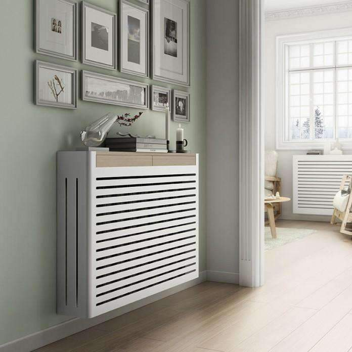 Modern Floating Radiator Heater Cover NORDIC STRIPE Metal Box design with wooden drawers Ref RCNR230-Distinct Designs (London) Ltd