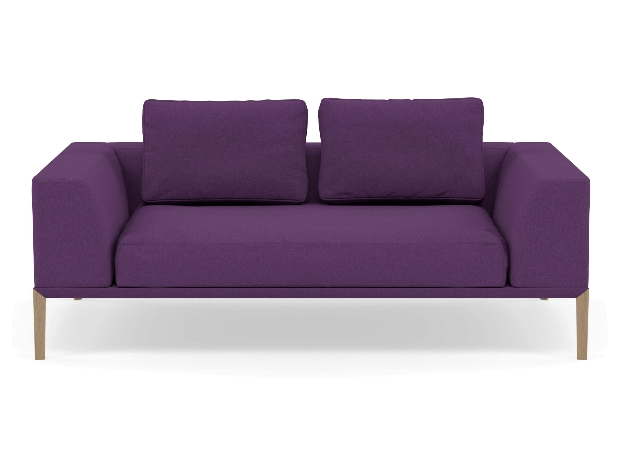 Modern 2 Seater Sofa with Armrests in Deep Purple Fabric-Natural Oak-Distinct Designs (London) Ltd