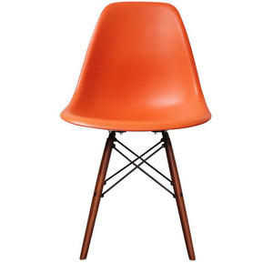 Classic Mid-Century Design Dining Office Orange Chair with braced Wooden Legs-Walnut-Distinct Designs (London) Ltd