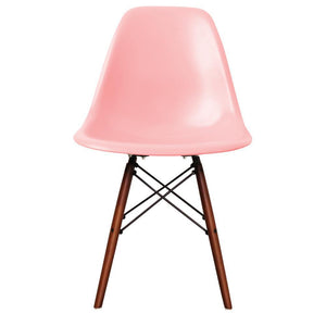 Classic Mid-Century Design Dining Office Light Pastel Pink Chair with braced Wooden Legs-Walnut-Distinct Designs (London) Ltd