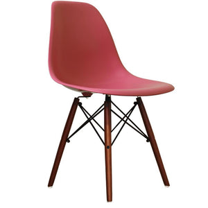 Classic Mid-Century Design Dining Office Rose Pink Chair with braced Wooden Legs-Distinct Designs (London) Ltd