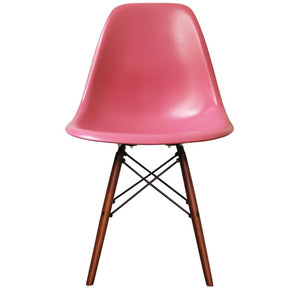Classic Mid-Century Design Dining Office Rose Pink Chair with braced Wooden Legs-Walnut-Distinct Designs (London) Ltd