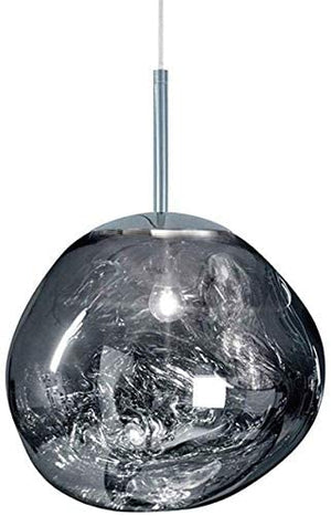 Postmodern Crystal Glass Chandelier Pendant LED Light in Irregular Melt Design-25cm-Silver-Distinct Designs (London) Ltd
