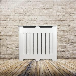Elegant White Removable Radiator Heater Covers with Classic VERTICAL SLATS decorative grille screening panel-70x90cm-Distinct Designs (London) Ltd