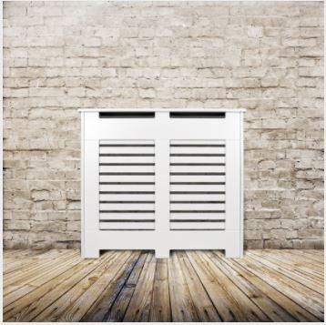 Elegant White Removable Radiator Heater Covers with Classic HORIZONTAL SLATS decorative grille screening panel-70x90cm-Distinct Designs (London) Ltd