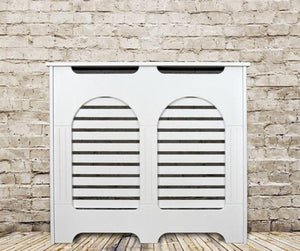 Elegant White Removable Radiator Heater Covers with Classic HORIZONTAL SLATS decorative grille screening panel-Distinct Designs (London) Ltd