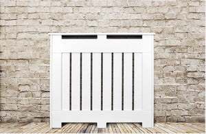 Elegant White Removable Radiator Heater Covers with Classic VERTICAL SLATS decorative grille screening panel-Distinct Designs (London) Ltd