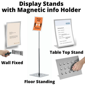 Floor Standing Display Stand easy-access Magnetic info Holder Hygiene PPE social distancing Poster-Distinct Designs (London) Ltd