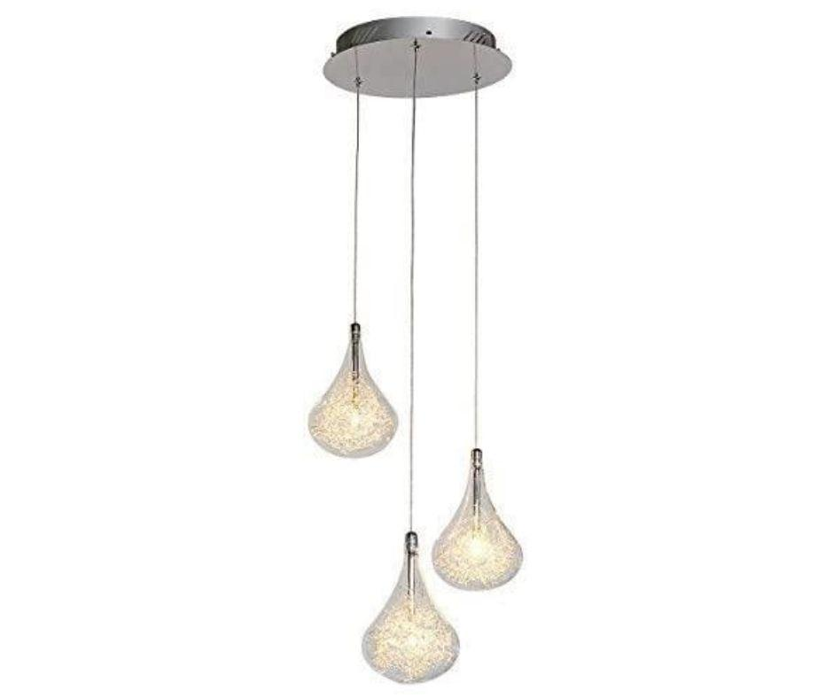 Teardrop Chrome Glass Ceiling Pendant Lighting with 3 wire filled clear lamp shades-3 Lights-Distinct Designs (London) Ltd