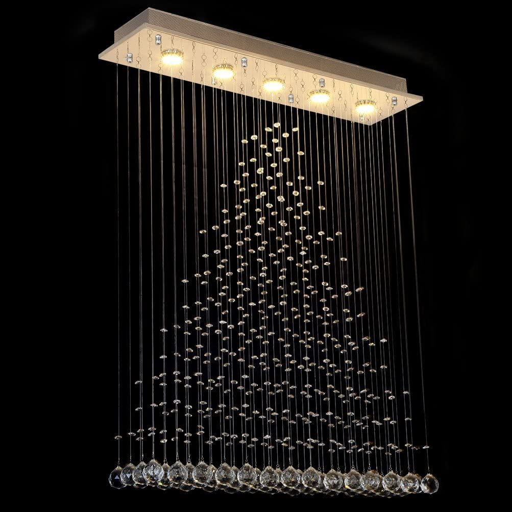 Triangular Crystal Droplets Chandelier 102cm Pendant Light Rectangular Ceiling Rose for 5 GU10 bulbs-CRYSTAL 120Hx80Lx20Dcm-Distinct Designs (London) Ltd