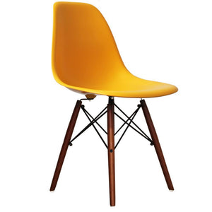 Classic Mid-Century Design Dining Office Honey Yellow Chair with braced Wooden Legs-Distinct Designs (London) Ltd