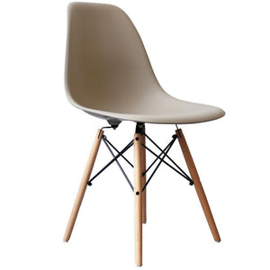 Classic Mid-Century Design Dining Office Beige Chair with braced Wooden Legs-Distinct Designs (London) Ltd