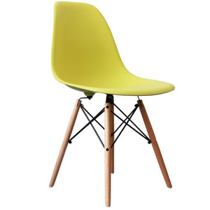 Classic Mid-Century Design Dining Office Lime Green Chair with braced Wooden Legs-Distinct Designs (London) Ltd