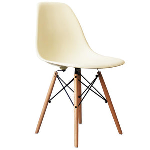 Classic Mid-Century Design Dining Office Cream White Chair with braced Wooden Legs-Distinct Designs (London) Ltd