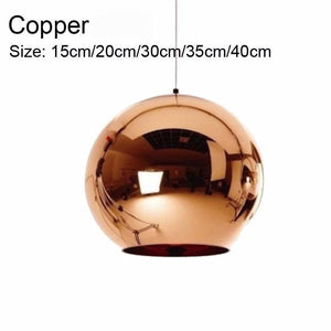 Golden, Copper or Sliver Mirror Chandelier Style Pendant Ceiling Light Glass Ball Lamp-Copper 15cm-Distinct Designs (London) Ltd