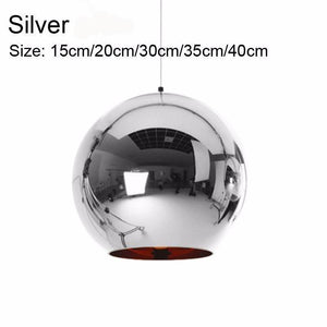 Golden, Copper or Sliver Mirror Chandelier Style Pendant Ceiling Light Glass Ball Lamp-Silver 15cm-Distinct Designs (London) Ltd