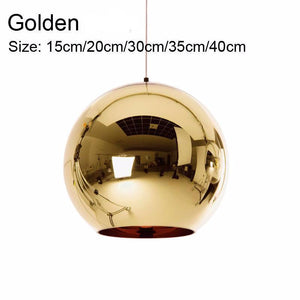 Golden, Copper or Sliver Mirror Chandelier Style Pendant Ceiling Light Glass Ball Lamp-Golden 15cm-Distinct Designs (London) Ltd