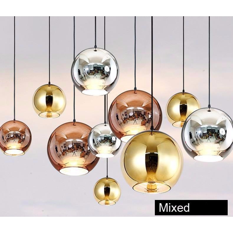 Golden, Copper or Sliver Mirror Chandelier Style Pendant Ceiling Light Glass Ball Lamp-Distinct Designs (London) Ltd