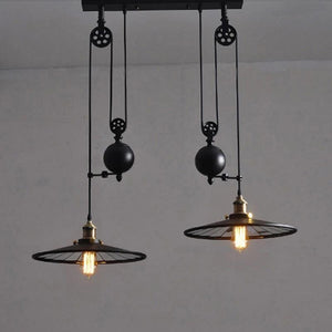 Loft Vintage Pendant Pulley Lights made of Black Painted Iron in Modern Industrial Style-2 Light Classic-Distinct Designs (London) Ltd