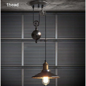 Loft Vintage Pendant Pulley Lights made of Black Painted Iron in Modern Industrial Style-Distinct Designs (London) Ltd