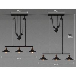 Loft Vintage Pendant Pulley Lights made of Black Painted Iron in Modern Industrial Style-3 Light with mirror-Distinct Designs (London) Ltd