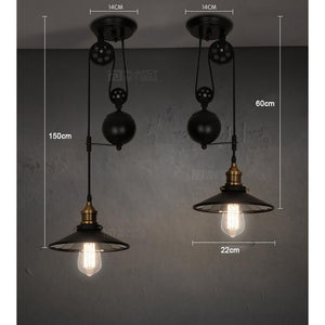 Loft Vintage Pendant Pulley Lights made of Black Painted Iron in Modern Industrial Style-2 Light with Mirror-Distinct Designs (London) Ltd
