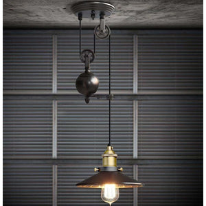 Loft Vintage Pendant Pulley Lights made of Black Painted Iron in Modern Industrial Style-1 Light with Mirror-Distinct Designs (London) Ltd