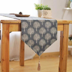 Modern Linen Cotton Cloth Table Runner Tree Printed Decorative design & V shaped finish Tassel-L - 30x200cm-Grey-Distinct Designs (London) Ltd