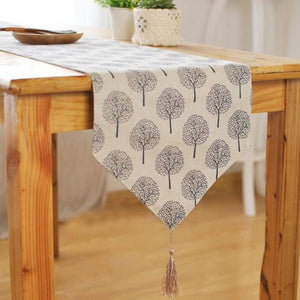 Modern Linen Cotton Cloth Table Runner Tree Printed Decorative design & V shaped finish Tassel-L - 30x200cm-LightGrey-Distinct Designs (London) Ltd