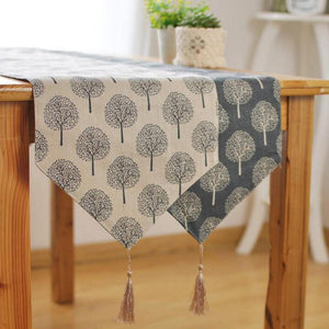 Modern Linen Cotton Cloth Table Runner Tree Printed Decorative design & V shaped finish Tassel-Distinct Designs (London) Ltd