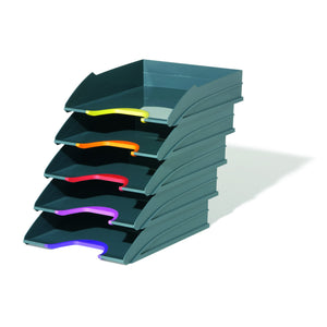 Stackable Grey Letter Trays with Stylish Coloured Contours for Home Office Study-Distinct Designs (London) Ltd