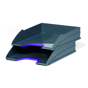 Stackable Grey Letter Trays with Stylish Coloured Contours for Home Office Study-Purple-Distinct Designs (London) Ltd
