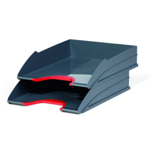Stackable Grey Letter Trays with Stylish Coloured Contours for Home Office Study-Red-Distinct Designs (London) Ltd