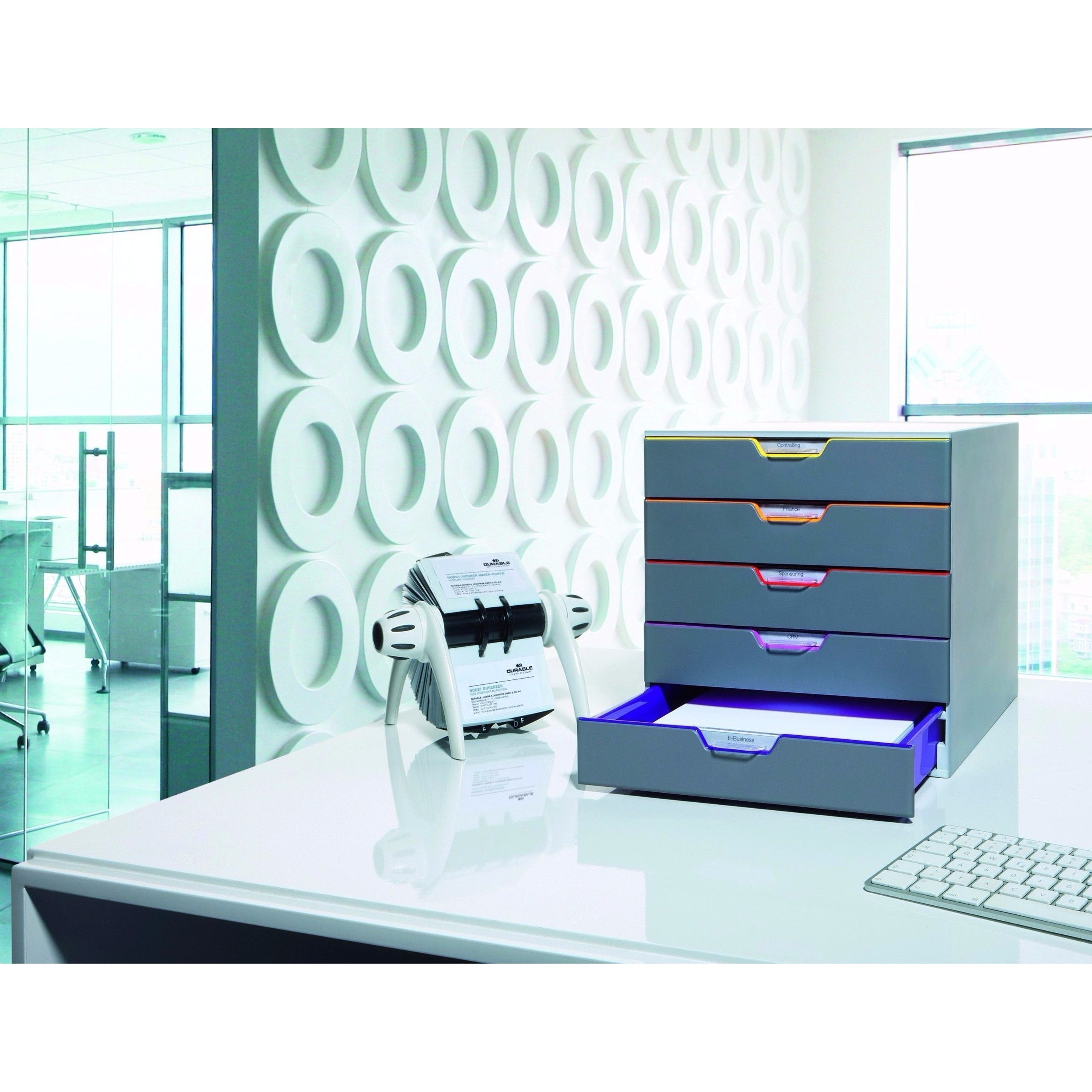 office study desk. Durable_VARICOLOR_5_Drawer_Box_Tower_Organiser_Storage_Unit_on_a_desk_with_drawer_opened_7506_27 Office Study Desk K