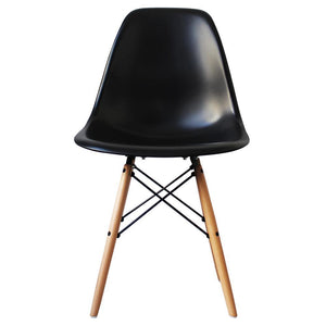 Classic Mid-Century Design Dining Office Black Chair with braced Wooden Legs-Natural Beach-Distinct Designs (London) Ltd