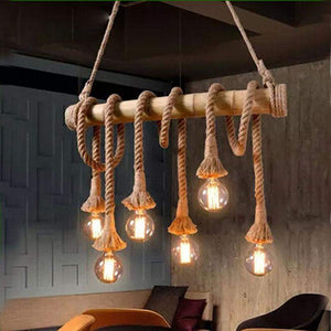 Vintage Rope and Bamboo Pendant Lights in Country Loft Nautical Style-Distinct Designs (London) Ltd