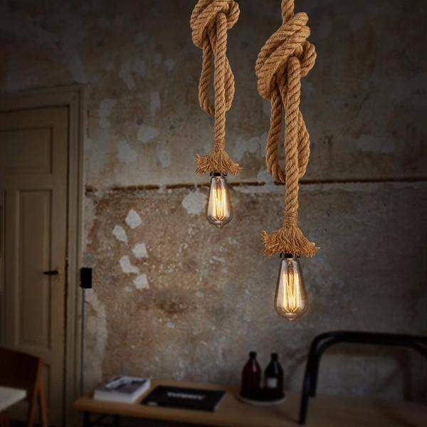 Contemporary Adjustable Rope Pendant Ceiling Light Lamp for more Traditional Nautical Interiors-300CM Single Head-Distinct Designs (London) Ltd