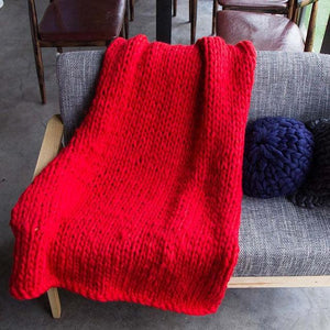 Generously sized Super Soft Thick Wool Like Knitted Blanket 100% Anti-Pilling Thread-Red-100x200cm-Distinct Designs (London) Ltd