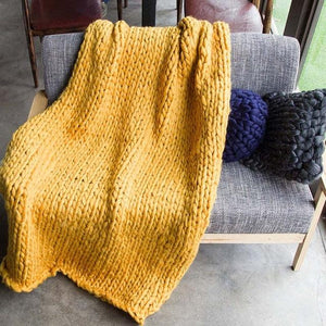 Generously sized Super Soft Thick Wool Like Knitted Blanket 100% Anti-Pilling Thread-Tuscany Yellow-100x200cm-Distinct Designs (London) Ltd