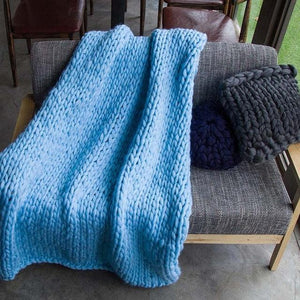 Generously sized Super Soft Thick Wool Like Knitted Blanket 100% Anti-Pilling Thread-Sky Blue-100x200cm-Distinct Designs (London) Ltd