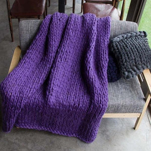 Generously sized Super Soft Thick Wool Like Knitted Blanket 100% Anti-Pilling Thread-Purple-100x200cm-Distinct Designs (London) Ltd