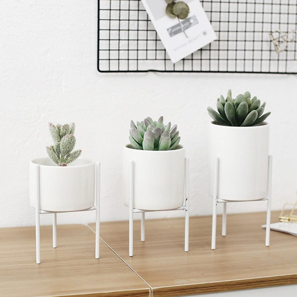 Modern Round White Ceramic Flower Planters with triangular Geometric Iron Rack Stand-Distinct Designs (London) Ltd