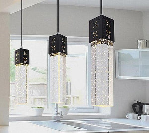 Modern Rectangle Bubble Crystal Ceiling Pendant Light LED Lamp-Distinct Designs (London) Ltd