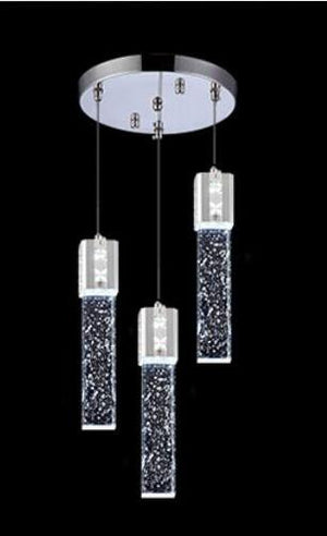 Modern Rectangle Bubble Crystal Ceiling Pendant Light LED Lamp-Triple Circle-WARM LIGHT-Silver-Distinct Designs (London) Ltd